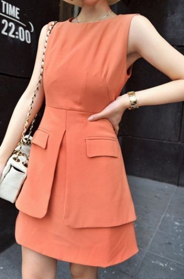 Pink Sleeveless Double Layer Hem Short Dress