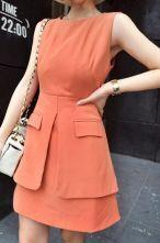 Pink Sleeveless Double Layer Hem Short Dress