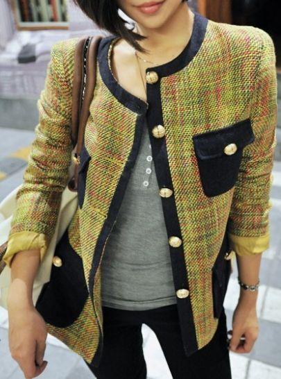 Mustard  Long Sleeve Contrast Trims Pockets Tweed Jacket