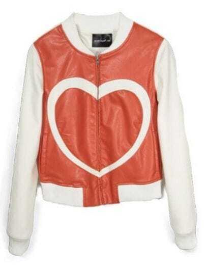 White Contrast Orange PU Leather Heart Print Jacket