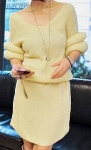 Beige V-neck Half Sleeve Round Cuffs Shift Knitted Dress