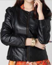 Black Puff Long Sleeve Round Neck PU Leather Jacket