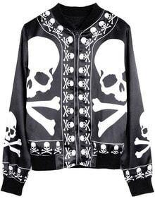 Black White Skull Bones Print Silk-like Jacket