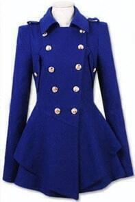 Royal Blue Military Double Skirt Hem Woolen Coat
