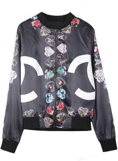 Black Double C Heart Print Silk-like Jacket