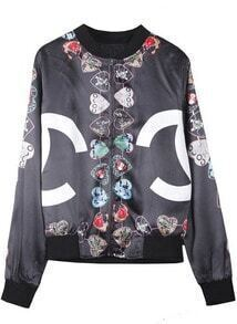 Black Double C Heart Print Silk-like Jacket