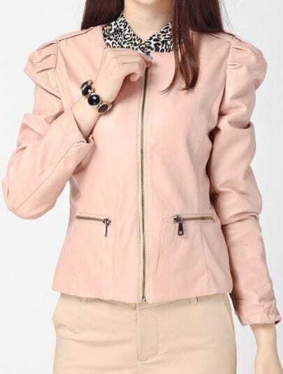 Pink Puff Long Sleeve Round Neck PU Leather Jacket