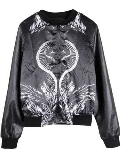 Black Maze Skull Print Back PU Leather Jacket