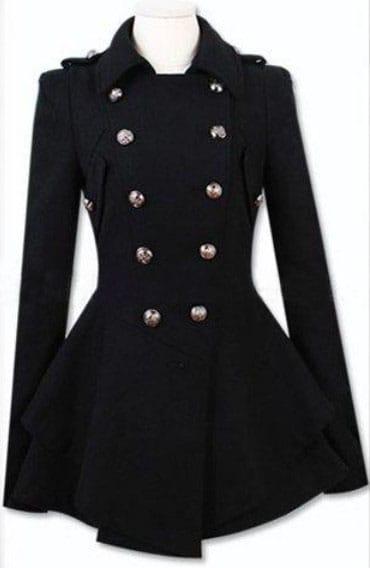 Black Military Double Skirt Hem Woolen Coat -SheIn(Sheinside)