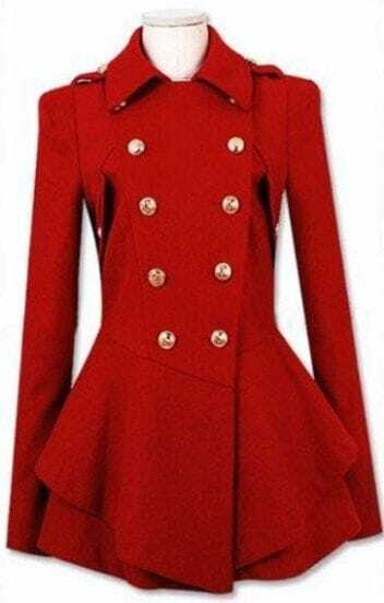 Red Military Double Skirt Hem Woolen Coat