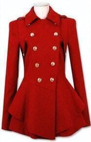 Red Military Double Skirt Hem Woolen Coat