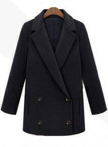 Black Double Breasted Boyfriend Woolen Suit Coat