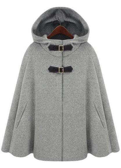 cape mantel aus wolle mit kapuze grau german shein. Black Bedroom Furniture Sets. Home Design Ideas