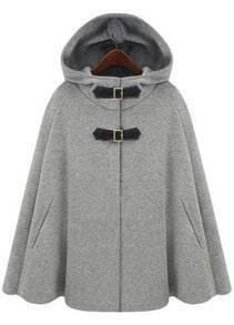 Grey Hoodie Two PU Buckle Woolen Cape Coat