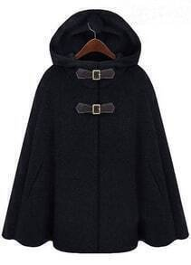 Black Hoodie Two PU Buckle Woolen Cape Coat