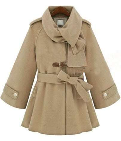Beige Flare Sleeve Hoodie Woolen Coat with Self-tie