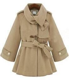 Beige Flare Sleeve Hoodie Woolen Coat with Self-tie