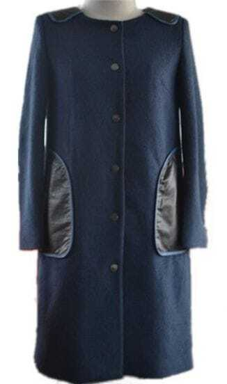 Navy Long Sleeve Contrast PU Shoulder and Pockets Woolen Coat