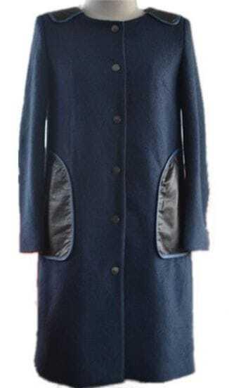 Navy Long Sleeve Contrast PU Shoulder and Pockets Woolen Coat