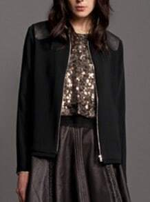 Black Long Sleeve Contrast PU Leather Shoulder Crop Coat