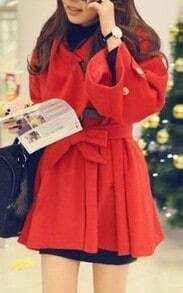 Red Flare Sleeve Hoodie Woolen Coat with Self-tie