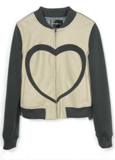 Dark Grey Contrast Beige PU Leather Heart Print Jacket