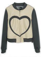 Dark Grey Contrast Beige PU Leather Heart Print Jacket