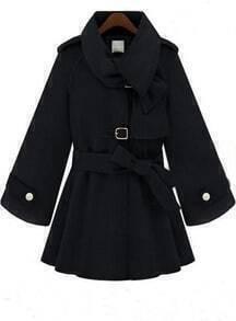 Black Flare Sleeve Hoodie Woolen Coat with Self-tie