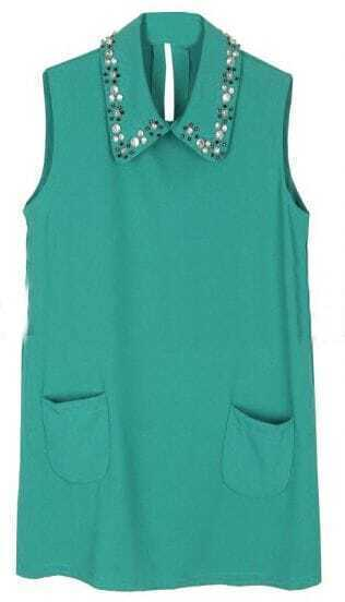 Blue Lapel Sleeveless Rhinestone Chiffon Blouse