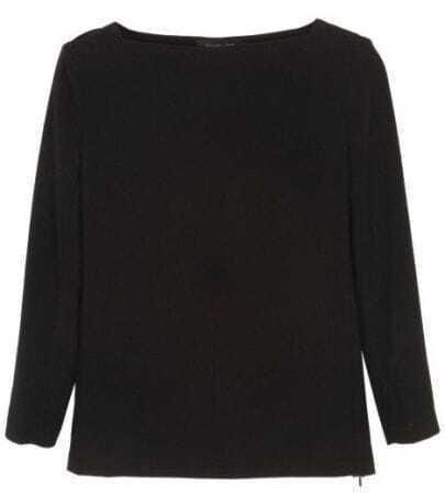 Black Boat Neck Long Sleeve Shirt