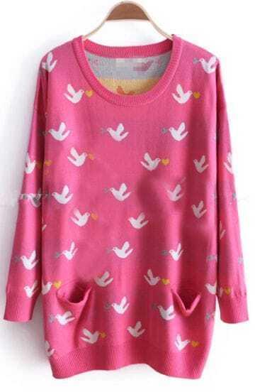 Rose Red Long Sleeve Birds Print Pockets Sweater