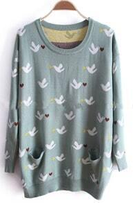 Green Long Sleeve Birds Print Pockets Sweater
