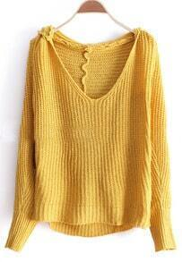 Yellow Hooded Long Sleeve Embroidery Sweater