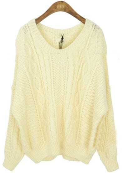Beige Round Neck Long Sleeve Batwing Loose Sweater