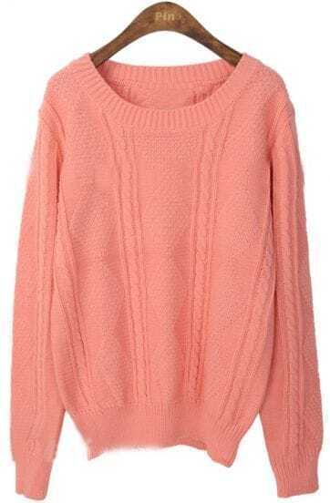 Pink Round Neck Long Sleeve Rhombus Sweater