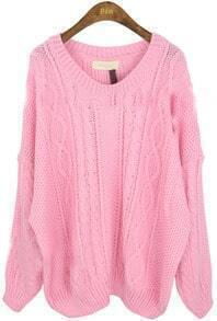 Pink Round Neck Long Sleeve Batwing Loose Sweater