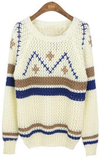 White Round Neck Long Sleeve Geometric Print Sweater