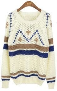 White Round Neck Long Sleeve Geometric Print Sweater