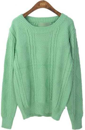 Green Round Neck Long Sleeve Rhombus Sweater