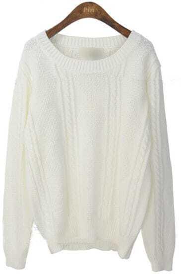 White Round Neck Long Sleeve Rhombus Sweater