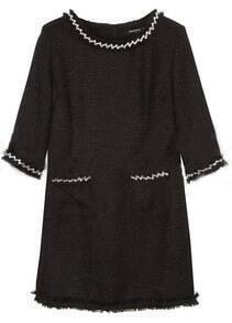 Black Round Neck Half Sleeve Pearls Pockets Dress