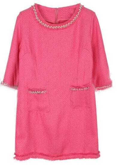 Pink Round Neck Half Sleeve Pearls Pockets Dress