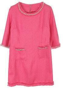 Pink Round Neck Half Sleeve Pearls Pockets Dress