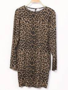 Leopard Round Neck Long Sleeve Skinny T-Shirt