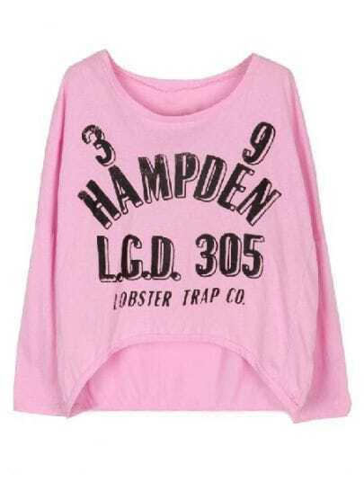Pink Long Sleeve Letters Print Asymmetrical T-Shirt