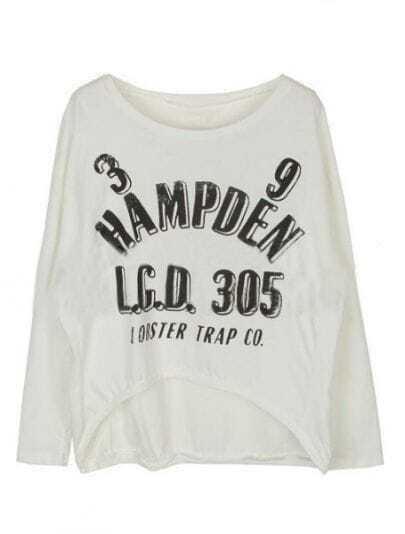 White Long Sleeve Letters Print Asymmetrical T-Shirt