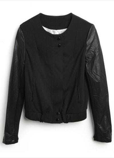 Black Round Neck Long Sleeve Leather Buttons Coat