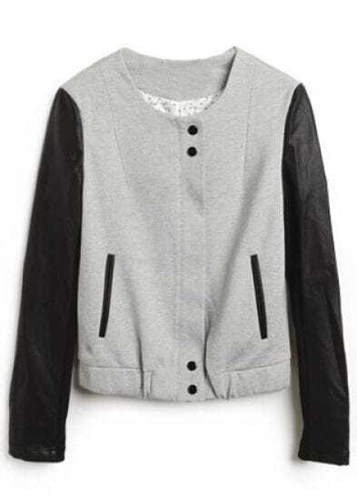 Grey Round Neck Long Sleeve Leather Buttons Coat