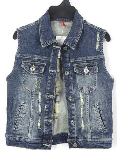 Dark Blue Bleached Ripped Pockets Denim Coat