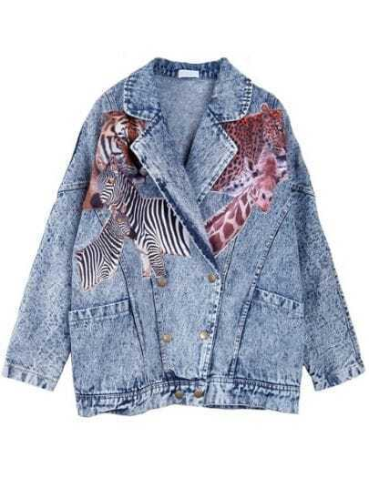 Blue Notch Lapel Animal Print Buttons Denim Coat